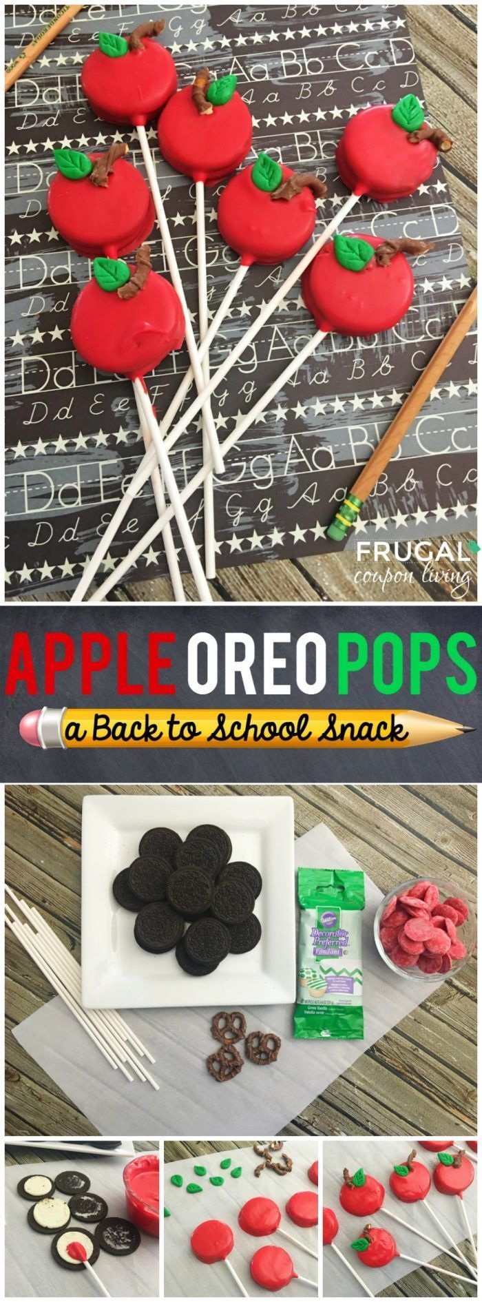 Back to School Snack Idea -Apple OREO Pops on Frugal Coupon Living plus more First Day of School and Back to School Snack Ideas.