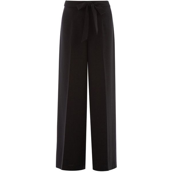OASIS Wideleg Trouser (£20) ❤ liked on Polyvore featuring pants, black, tie waist pants, wide leg trousers, pleated front pants and wide leg pants