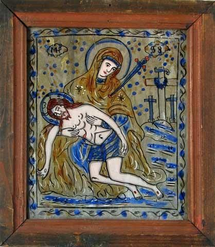 The lamentations of the Mother of God (glass icon, Romania)  http://iconreader.wordpress.com/2013/05/03/the-epitaphios-burial-of-christ-icon/