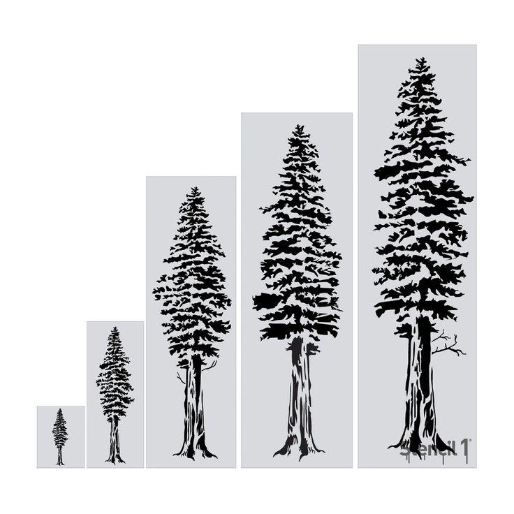 "Stencil1 Redwood Tree - Wall Stencil 24"" x 72"", White"