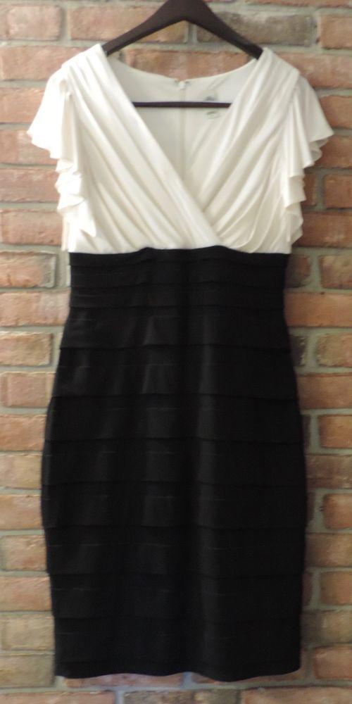 SANGRIA ~ Size 8 Black & Cream Sheath Dress Cap Flutter Sleeves Layered Skirt #Sangria #Sheath #SummerBeach
