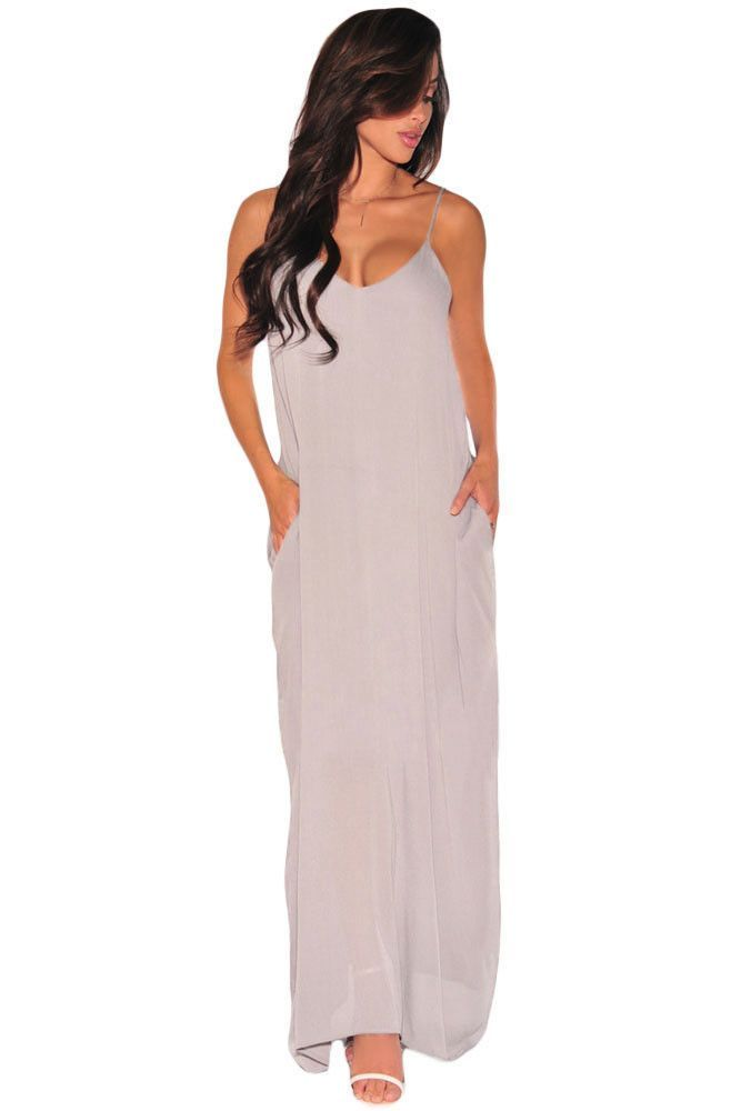 Robes Longues Gris Loose Fit Robe Pas Cher www.modebuy.com @Modebuy #Modebuy #CommeMontre #dress #me #sexy