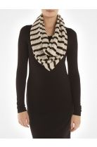 Striped open stitch infinity scarf