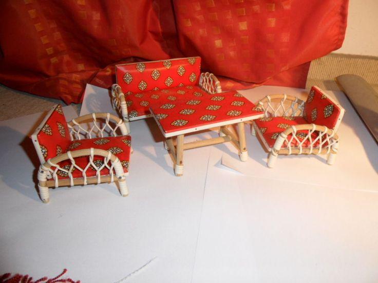 Puppenmöbel für Puppenstube (60-70er Jahre Garten- Wohnzimmergarnitur) | eBay