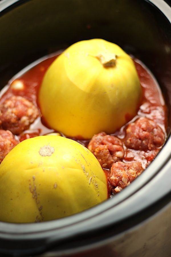 stupid-easy CROCK-POT Paleo Spaghetti Squash & meatballs!  Place sauce in bottom of slow cooker. Then spag squash and meatballs around. High 3hrs or low for 5hrs.