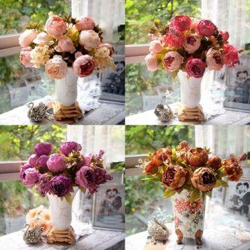 Wholesale Artificial Peony Bouquet Artificial Silk Flowers Home Wedding Decor