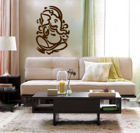 Lord Ganesh vinyl Wall DECAL- Hindi Hindu India interior design, sticker art, room, home and business decor