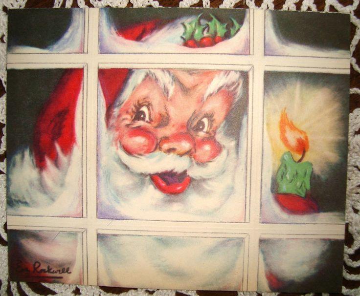 Vintage Christmas Greeting Card by Artist Eve Rockwell Santa EB801 | eBay