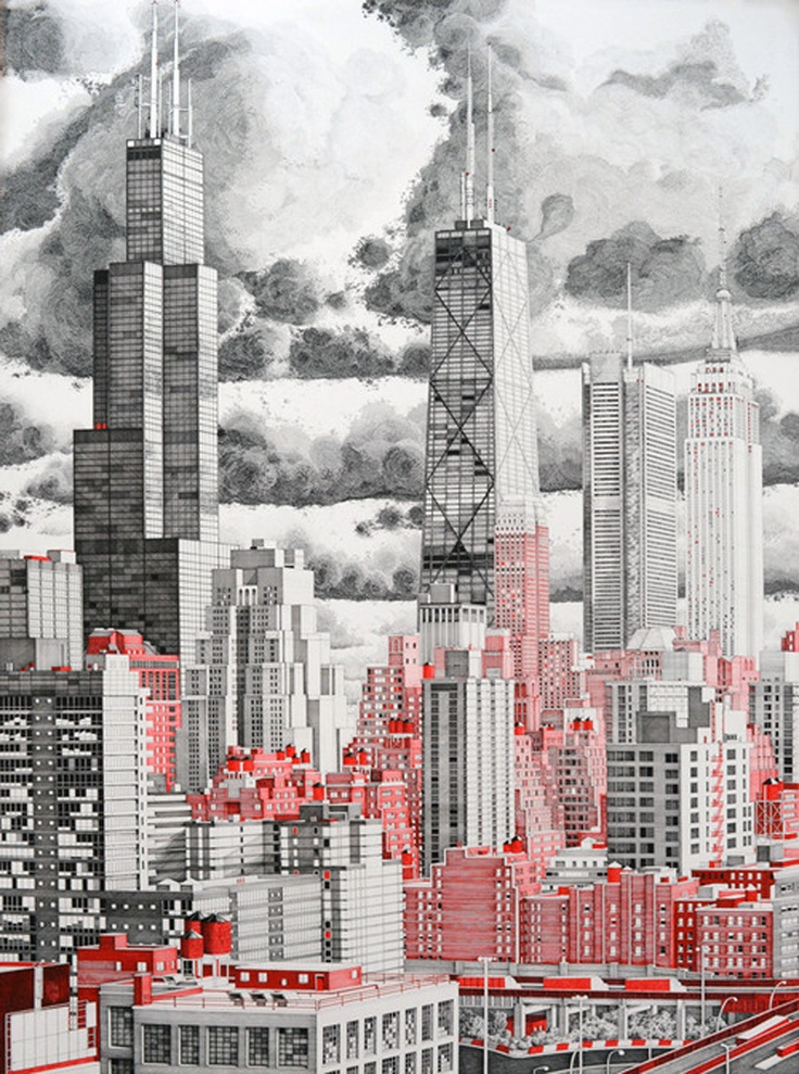 Great City Scape...  Ink drawing  - Artist Unknown