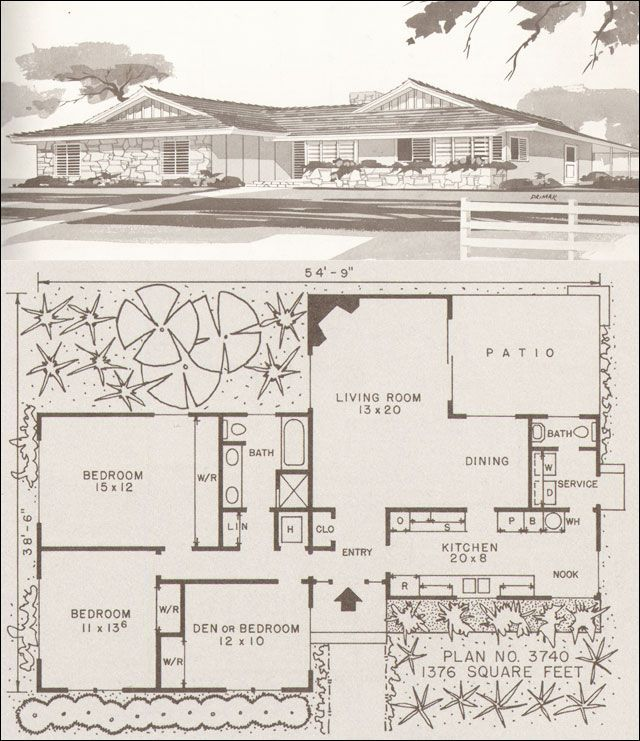 Lots Of Nice Older Floor Plans On This Site  C. 1960 Ranch And Modern Homes  By Hiawatha T. Estes, Plan No.