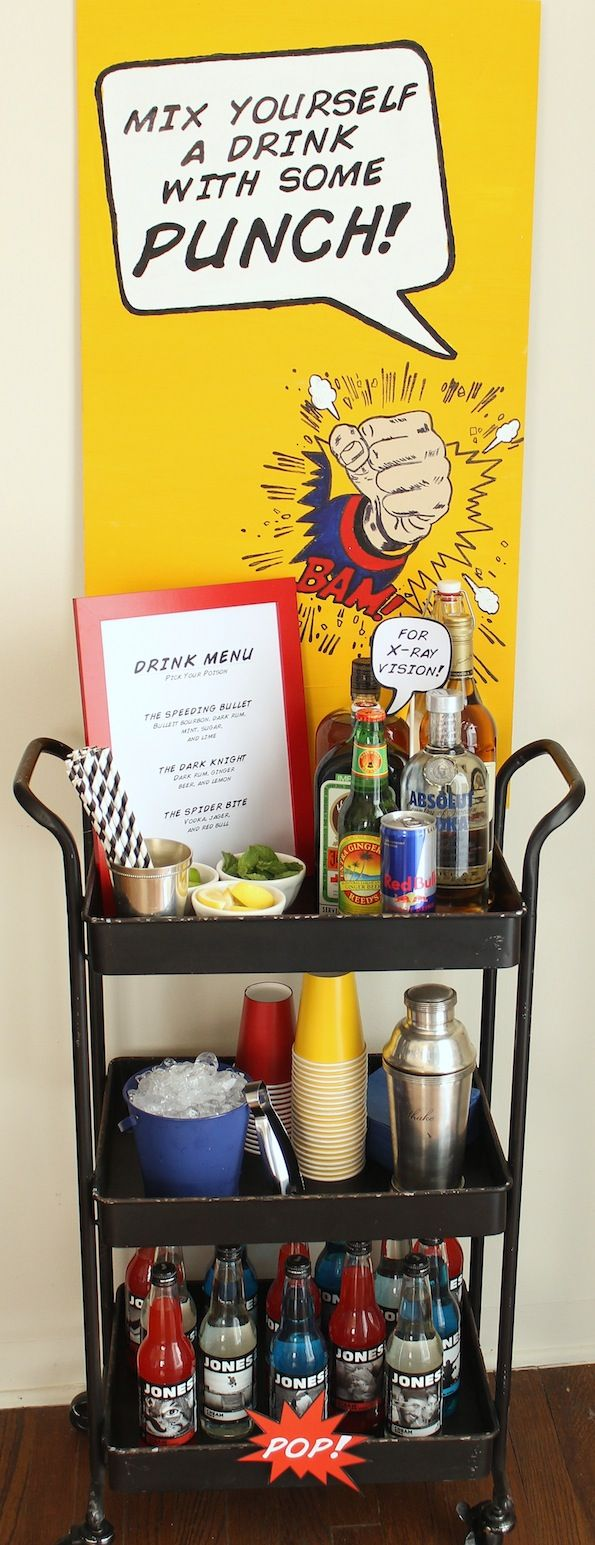 """Super Bar"" at a comic book party! #evite #party #drinks"