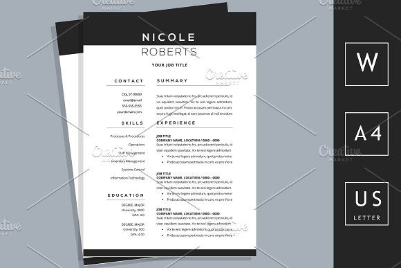 Modern Graduate Resume CV For Word By Chic Resumes On Graphicsauthor