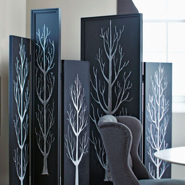 black room divider screens with white tree design