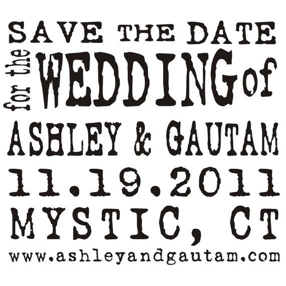 Large SAVE THE DATE Custom Rubber Stamp Typewriter Antique