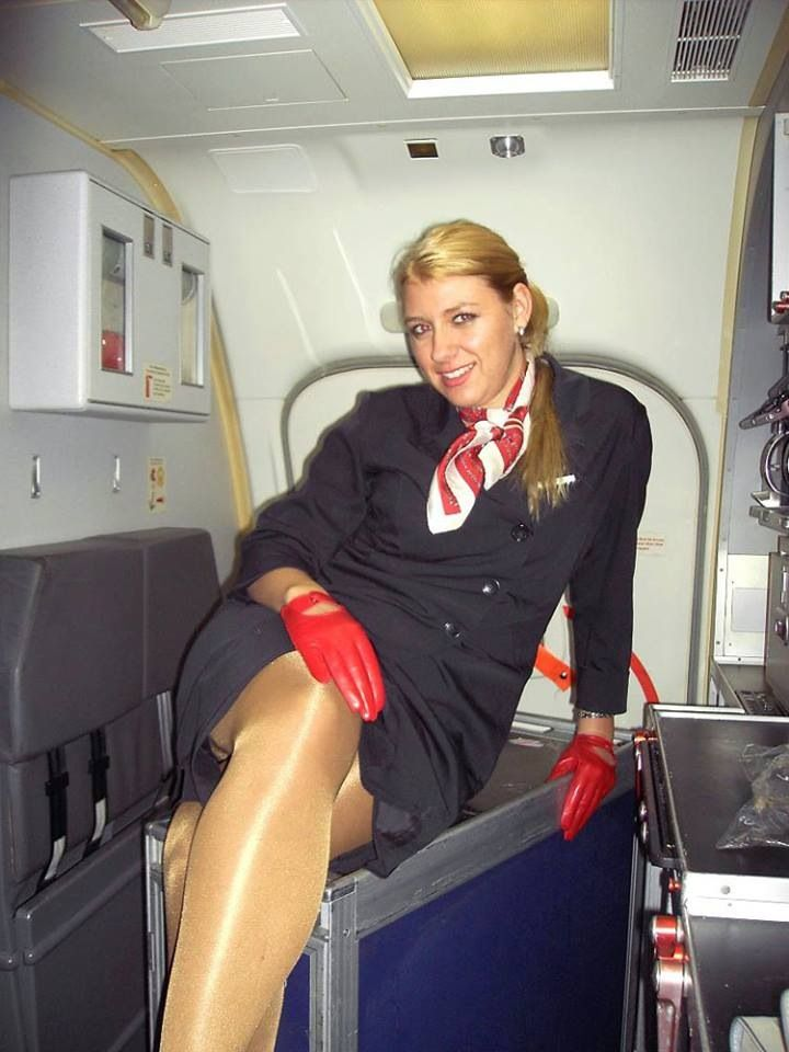 Airline hostess with nice tits