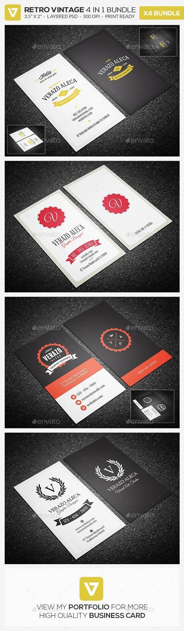 Retro Business Card Bundle Business Cards Retro Retro Business Card Printing Business Cards