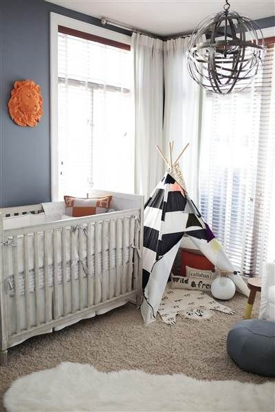 Encourage the adventure in them with a fun, outdoor-themed nursery, complete with lions and teepees. Description from brit.co. I searched for this on bing.com/images