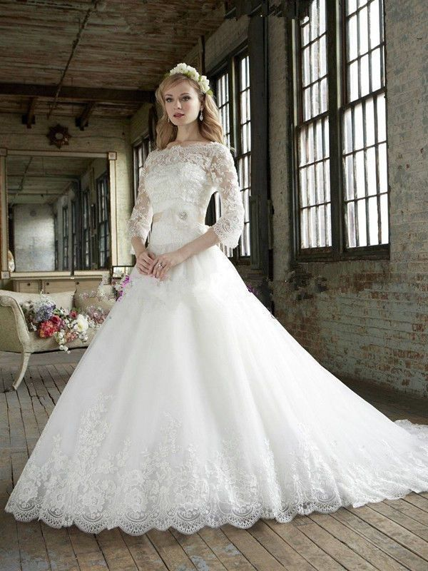White ivory lace a line sashes 3 4 sleeve wedding dress for 3 4 sleeve ball gown wedding dress
