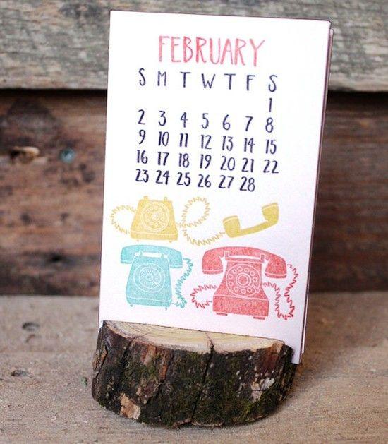 2014 Letterpress Calendar with Wood Stump