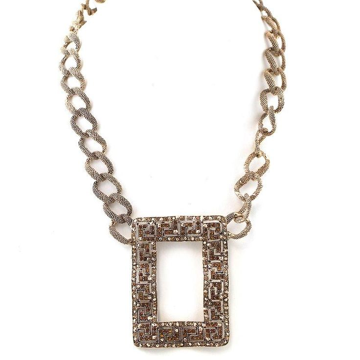 Crumpled Rectangle Pendant Chunky Chain Necklace