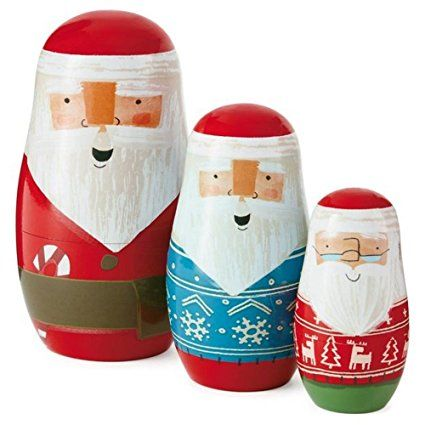 Hallmark Woodland Santa Nested Dolls Set. This fun set of nesting dolls is perfect for Holiday decorations or a Christmas gift!