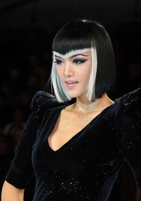 like the v shaped fringe, not sure about the monochrome slice??