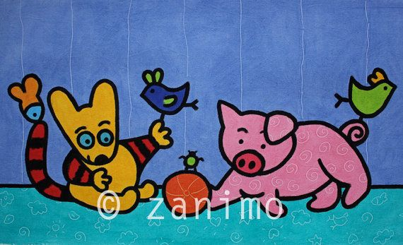 Maki plays with a pink pig purple bird wall art by Zanimo on Etsy, $20.00