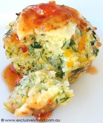 Gluten Free - Rice and Vegetable Cake with Zucchini, Garlic, Baby Spinach Leaves, Parmesan, Cheddar Cheese, and a Sweet Chili Sauce