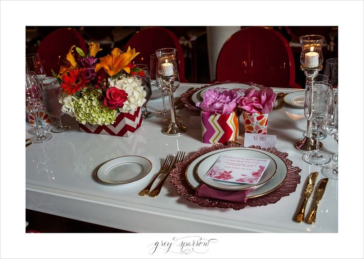 bright and eclectic table setting