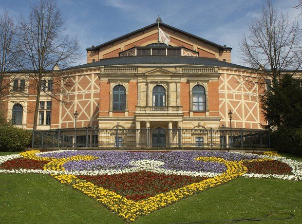 #Bayreuth #Festspielhaus. Dedicated solely to performing operas by Richard Wagner, this opera house is the venue for the annual Bayreuth Festival. The orchestra pit is covered, underneath the stage, because Wagner didn't want the audience to be distracted by the instrumentalists #Orchestra #livemusic #classical