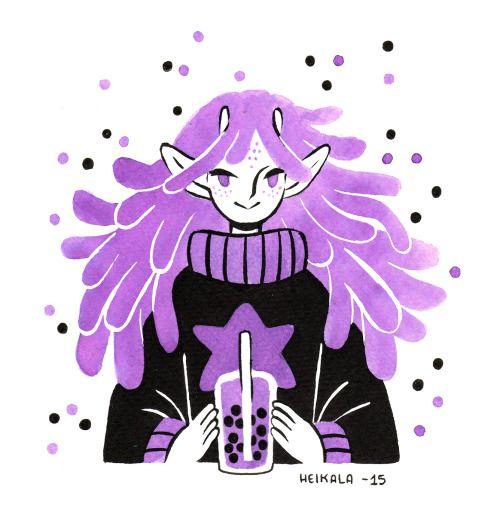 Inktober day 11, Alien girlA request from Instagram, a cute alien girl enjoying a bubble tea.