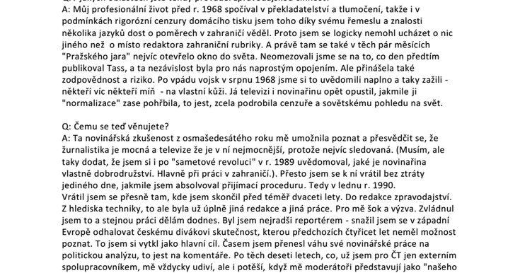 Rozhovor se Zdeňkem Velíškem v současné době zahraničním redaktorem České televize