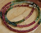 Watermelon Tourmaline Necklace, Petite Handmade Necklace, Pink and Green Ombre Tourmaline