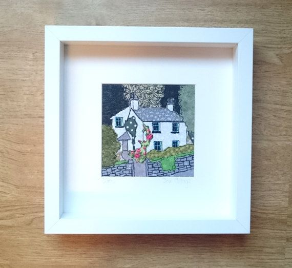 Framed Textile Art Picture of Dove Cottage Grasmere by RubyPatch