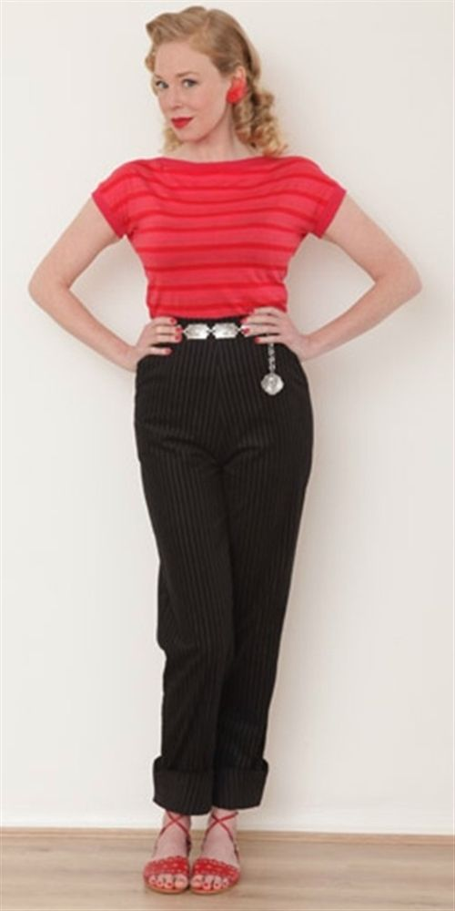 Black Slacks ! - so cute ! Wings at your feet for an extra special look. Made from a lightweight needle black striped cord,  with a long back zip and two slanted side pockets. [belt not included - sorry !], Made in England, PLEASE CHECK THE SIZE CHART BELOW.