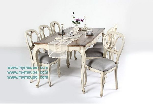 French Antique Asha Dinning Table Set with 6 X Back Chairs