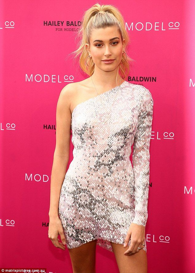 Get Hailey's glam appeal in a one-shoulder mini dress. Click 'Visit' to buy now. #DailyMail
