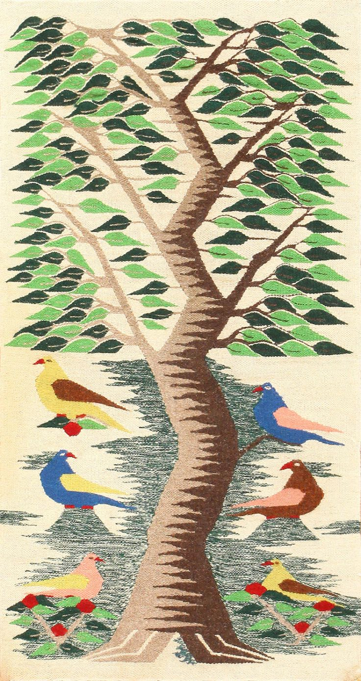 Vintage Swedish Scandinavian Tapestry Textile Art 48607