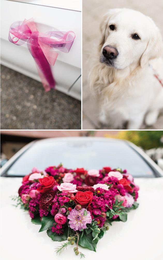 Blumenschmuck für das Auto in kräftigen Farben