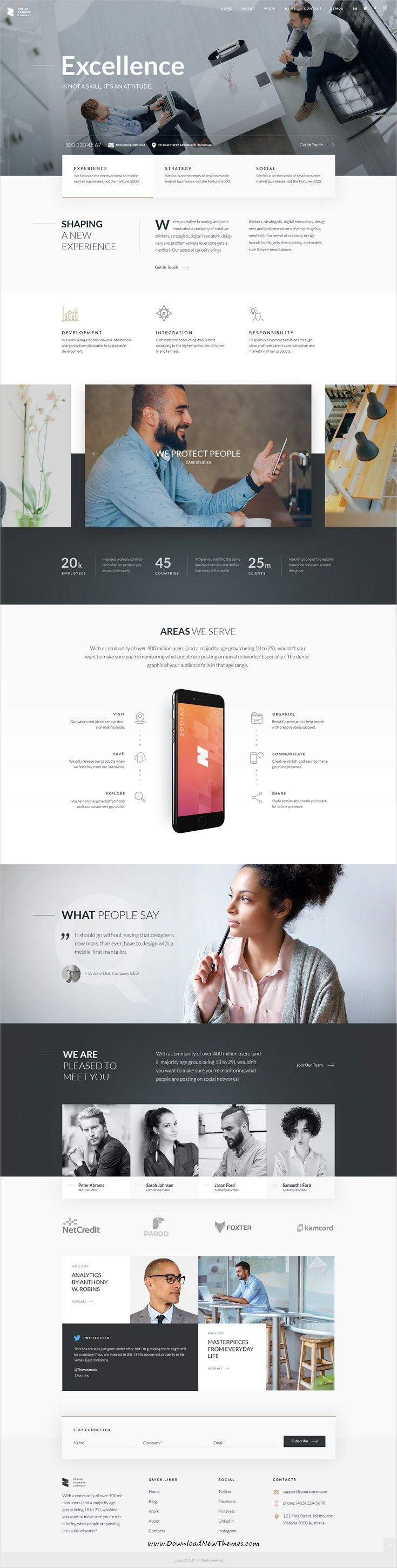 Zodiac is clean and modern design multipurpose PSD #template for creative #corporate website with 8 niche #homepage layouts and 56 layered PSD pages to live preview & download click on Visit