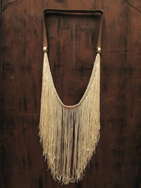 DIY Fringe studded leather necklace.