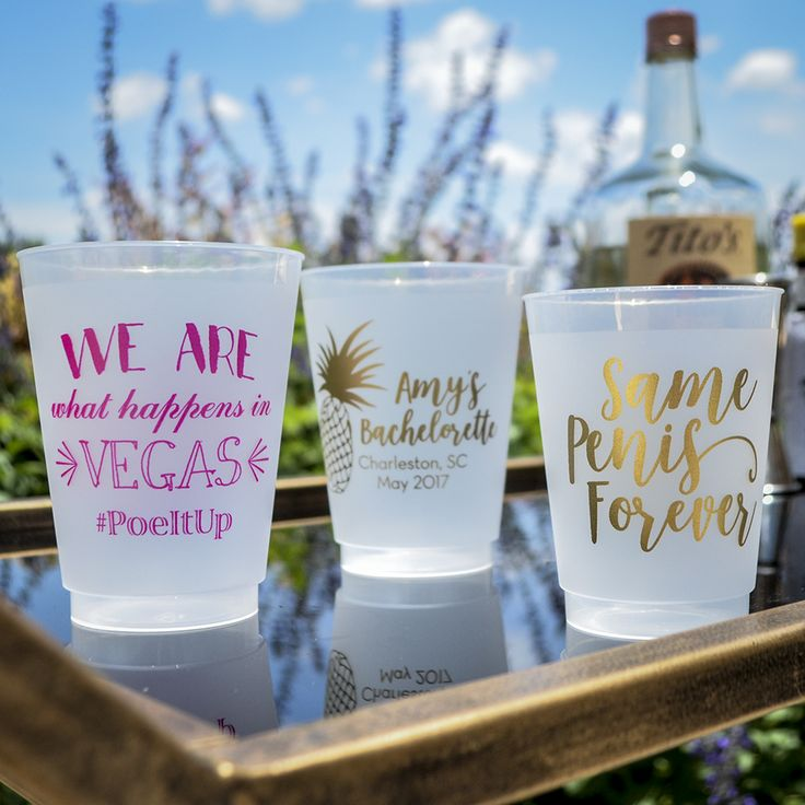 Yessss bachelorette cups customized from Gracious Bridal!
