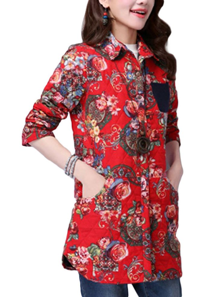 Casual Pocket Linen Cotton Printed Long Sleeve Lapel Button Women Coat at Banggood