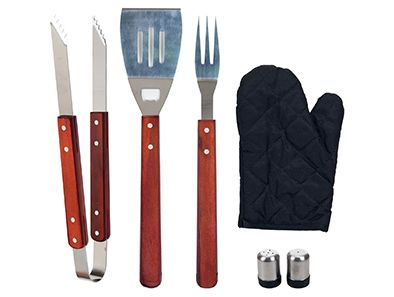 Start grilling like a pro with this Chefs Kitchen Outdoor 7-Piece BBQ Apron and Utensil Set! This deluxe outdoor cooking set offers stainless steel design for quality utensils that are built to last. Featuring a wide variety of essential barbecue tools, this handsome set comes complete with its very own custom apron so cooking tools are always within reach. All utensils are dishwasher safe.
