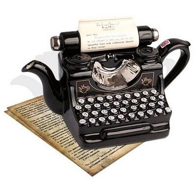 Fresh Pics: Unusual and Unique Teapots   ---    An author's teapot--reminds me of my father's typewriter!!