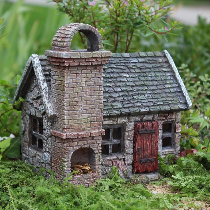 Stoney Brook Fairy Garden Cottage with Hinged Door (doors open) Dimensions: 6.5″ Tall | 6.25″ Wide | 4.75″ Deep NOT A TOY – Miniatures are small items that pose potential choking hazards to small chil