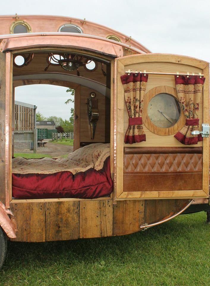 Steampunk Teardrop Caravan built by Dave Moult in the UK (pinned by haw-creek.com)