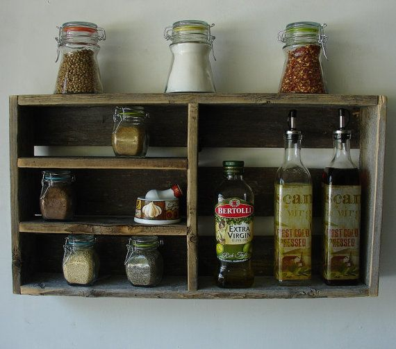 Rustic Reclaimed Wood Spice Rack, Small and Ideal for under Cabinet Wallmount on Etsy, $50.00