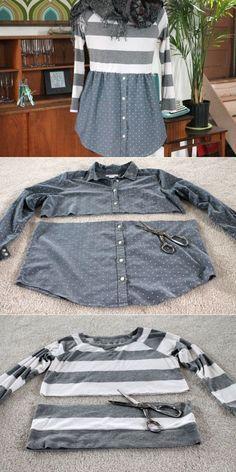 Tunique fabriquée à partir du haut d'un chandail et du bas d'une blouse recyclés. Très joli!