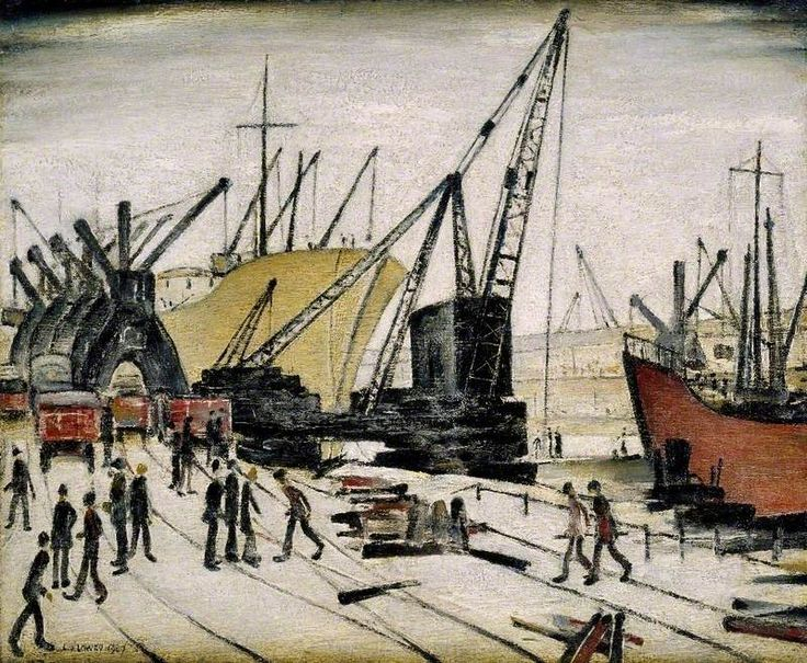 Cranes and Ships, Glasgow Docks, United Kingdom, 1947, by L. S. Lowry.